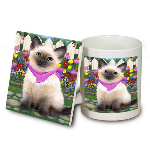 Spring Floral Siamese Cat Mug and Coaster Set MUC52214