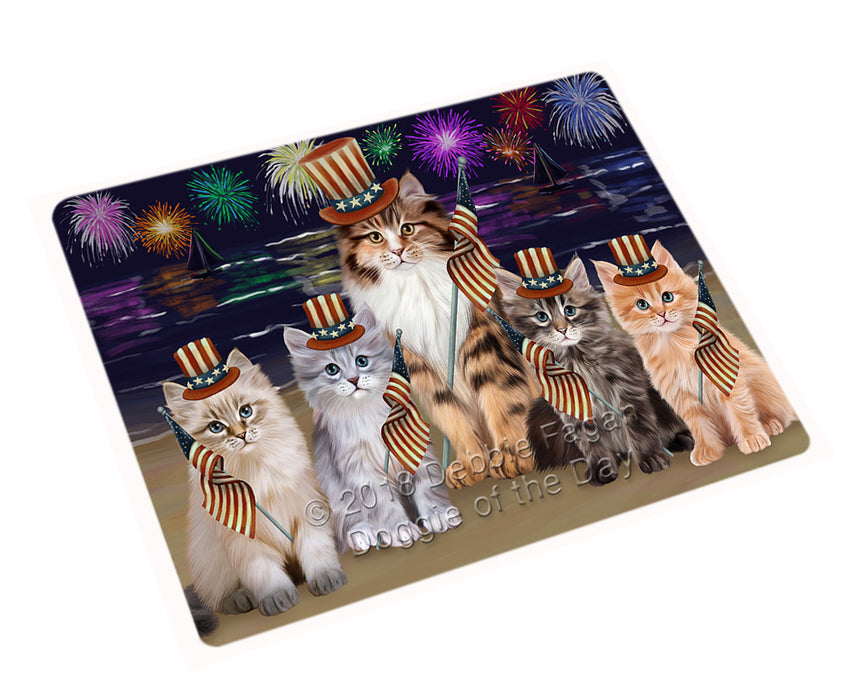 "4th of July Independence Day Firework Siamese Cats Magnet MAG76065 (Mini 3.5"" x 2"")"