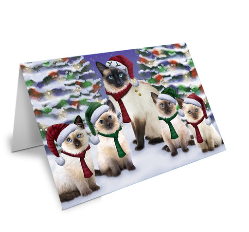 Siamese Cats Christmas Family Portrait in Holiday Scenic Background Note Card NCD62186