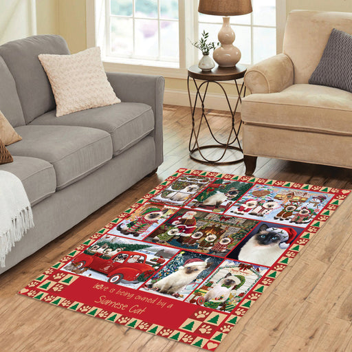 Love is Being Owned Christmas Siamese Cats Area Rug