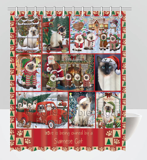 Love is Being Owned Christmas Siamese Cats Shower Curtain
