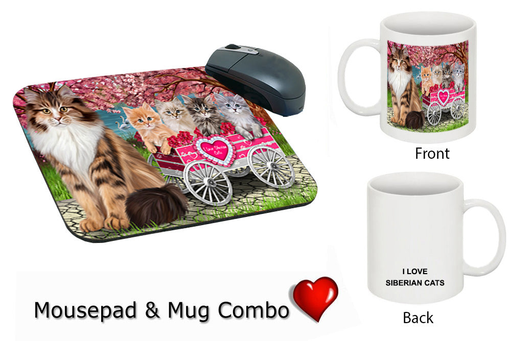 I Love Siberian Cats in a Cart Mug & Mousepad Combo Gift Set MPC49605