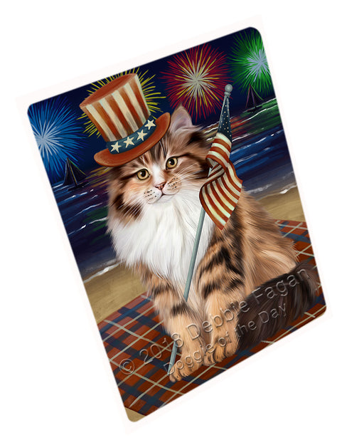 4th of July Independence Day Firework Siberian Cat Large Refrigerator / Dishwasher Magnet RMAG104130