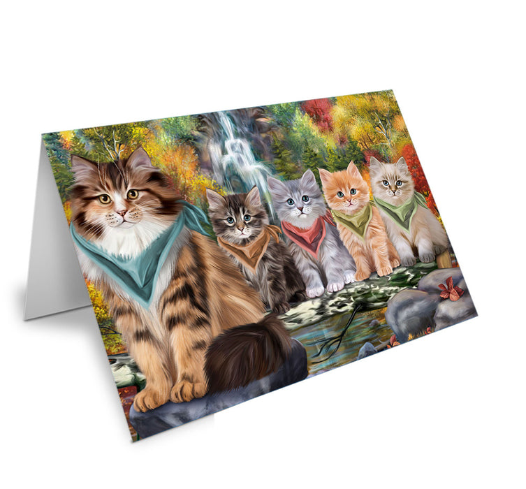 Scenic Waterfall Siberian Cats Note Card NCD68459