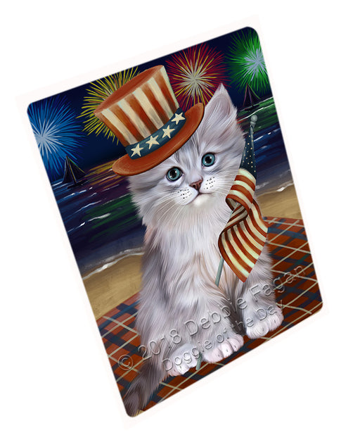 4th of July Independence Day Firework Siberian Cat Large Refrigerator / Dishwasher Magnet RMAG104136