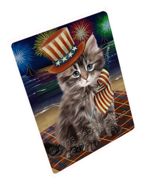 4th of July Independence Day Firework Siberian Cat Large Refrigerator / Dishwasher Magnet RMAG104142