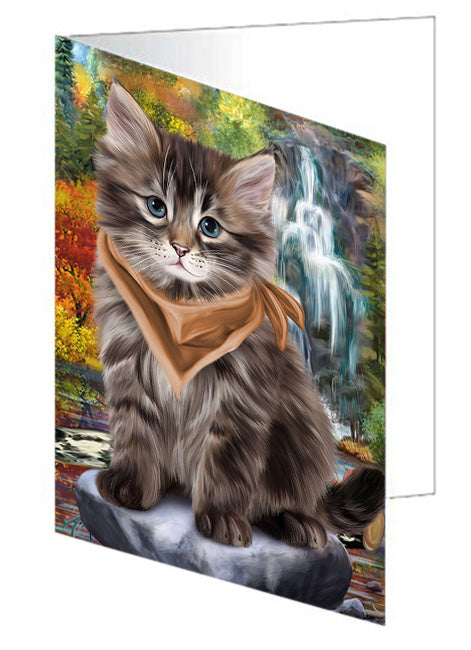 Scenic Waterfall Siberian Cat Note Card NCD68465