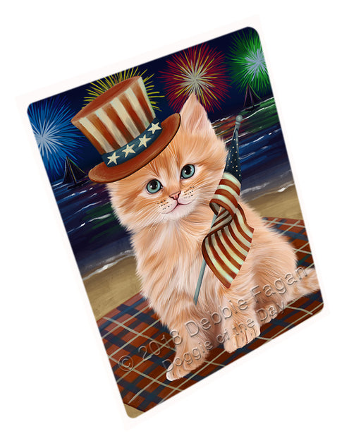 4th of July Independence Day Firework Siberian Cat Large Refrigerator / Dishwasher Magnet RMAG104148