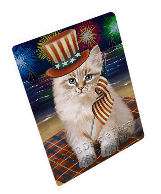 4th of July Independence Day Firework Siberian Cat Large Refrigerator / Dishwasher Magnet RMAG104154