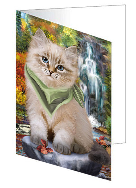 Scenic Waterfall Siberian Cat Note Card NCD68474