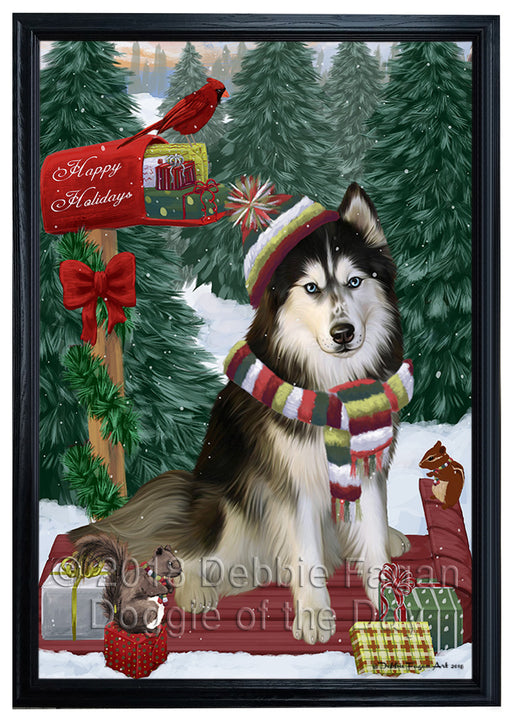 Merry Christmas Woodland Sled Siberian Husky Dog Framed Canvas Print Wall Art FCVS172797
