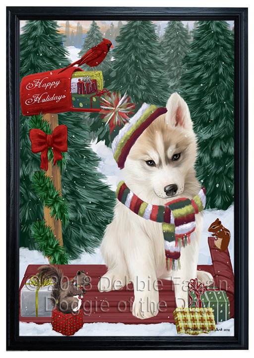 Merry Christmas Woodland Sled Siberian Husky Dog Framed Canvas Print Wall Art FCVS172814