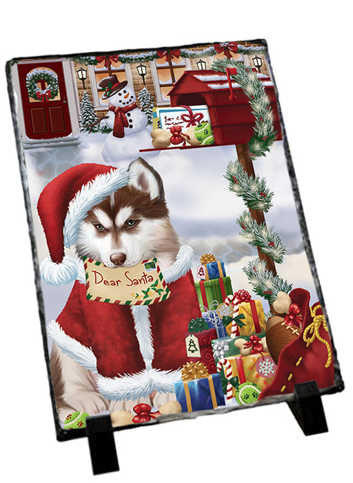 Siberian Husky Dog Dear Santa Letter Christmas Holiday Mailbox Sitting Photo Slate SLT57550