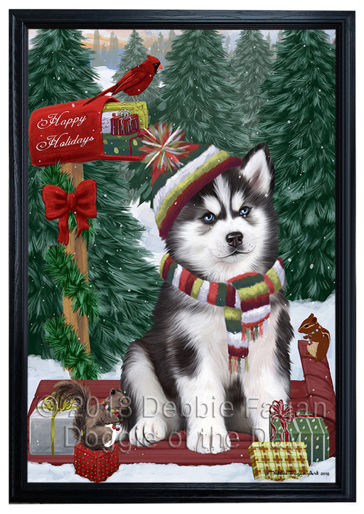 Merry Christmas Woodland Sled Siberian Husky Dog Framed Canvas Print Wall Art FCVS172831