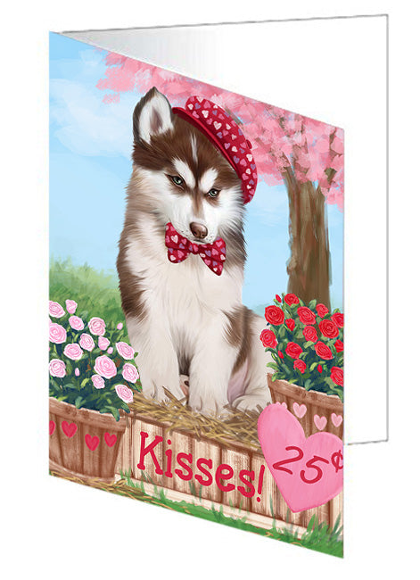 Rosie 25 Cent Kisses Siberian Husky Dog Note Card NCD73238