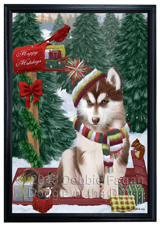 Merry Christmas Woodland Sled Siberian Husky Dog Framed Canvas Print Wall Art FCVS172848