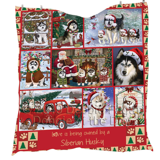 Love is Being Owned Christmas Siberian Husky Dogs Quilt