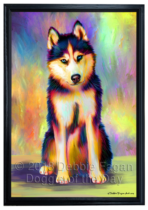 Paradise Wave Siberian Husky Dog Framed Canvas Print Wall Art FCVS190443