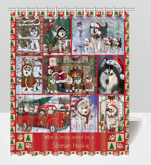 Love is Being Owned Christmas Siberian Husky Dogs Shower Curtain