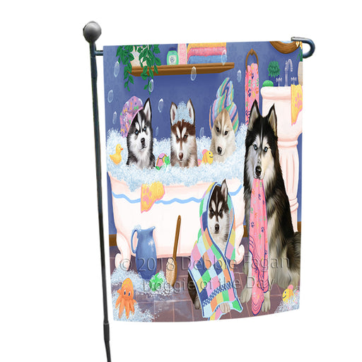 Rub A Dub Dogs In A Tub Siberian Huskies Dog Garden Flag GFLG57455