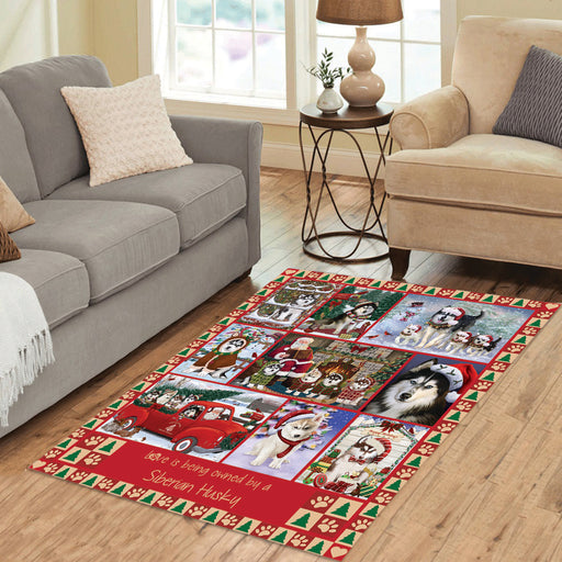 Love is Being Owned Christmas Siberian Husky Dogs Area Rug