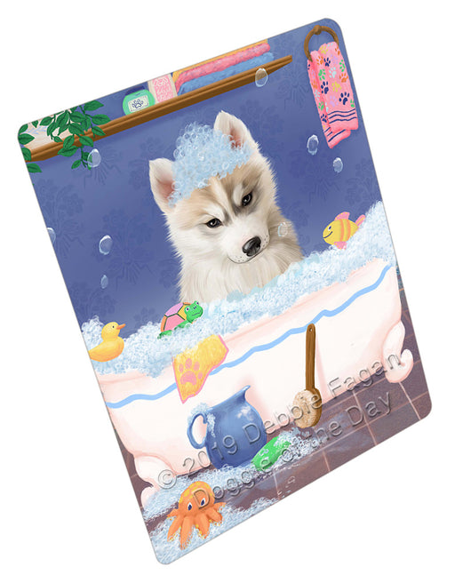 Rub A Dub Dog In A Tub Siberian Husky Dog Refrigerator / Dishwasher Magnet RMAG109704