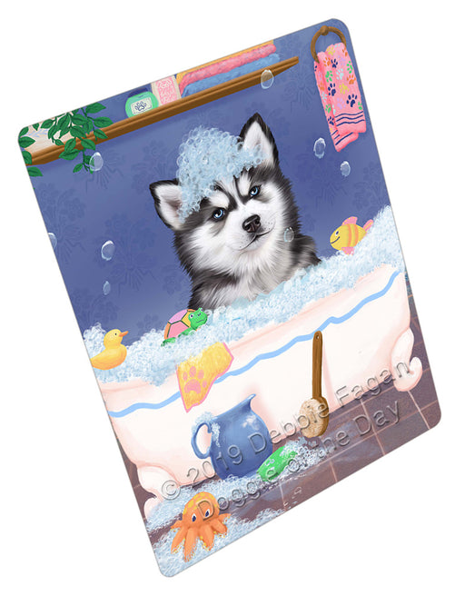 Rub A Dub Dog In A Tub Siberian Husky Dog Refrigerator / Dishwasher Magnet RMAG109716