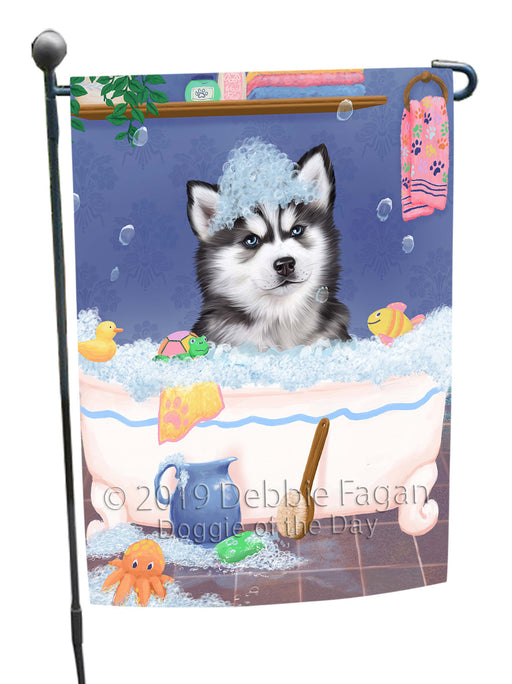 Rub A Dub Dog In A Tub Siberian Husky Dog Garden Flag GFLG66314