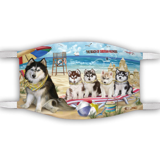 Pet Friendly Beach Siberian Husky Dogs Face Mask FM49142