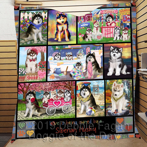 Love is Being Owned Siberian Husky Dog Grey Quilt