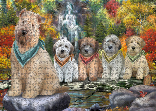 Scenic Waterfall Soft-Coated Wheaten Terriers Dog Puzzle with Photo Tin PUZL54411