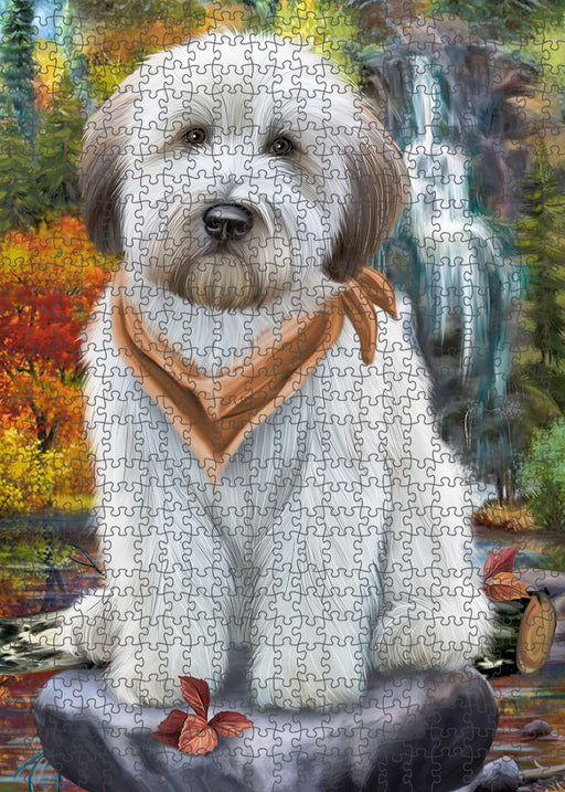 Scenic Waterfall Soft-Coated Wheaten Terrier Dog Puzzle with Photo Tin PUZL54414