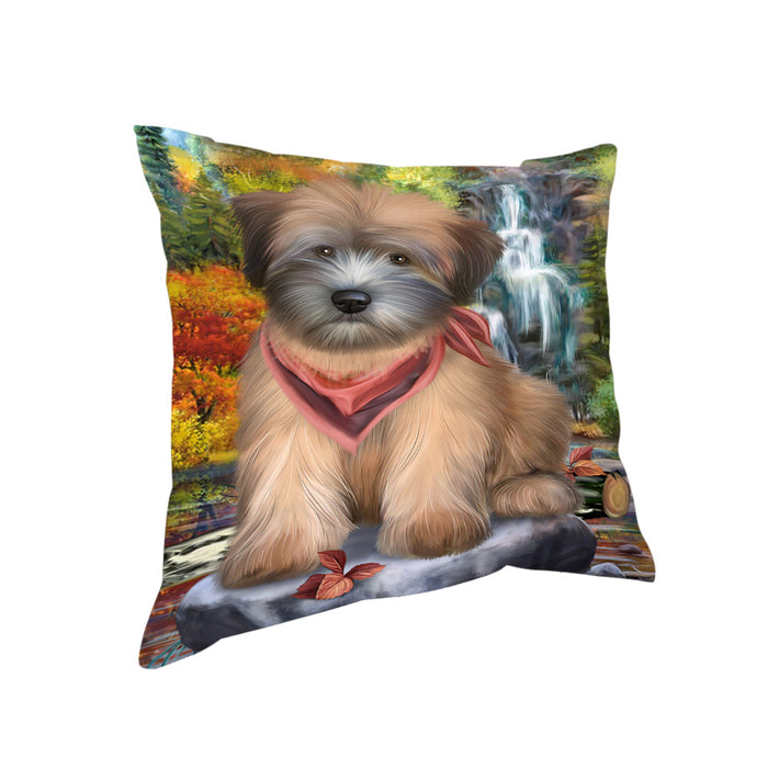 Scenic Waterfall Soft-Coated Wheaten Terrier Dog Pillow PIL56804