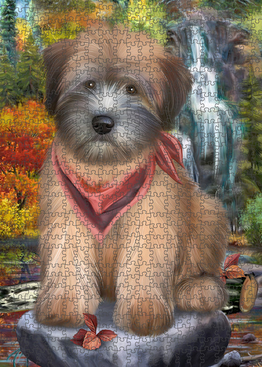 Scenic Waterfall Soft-Coated Wheaten Terrier Dog Puzzle with Photo Tin PUZL54417