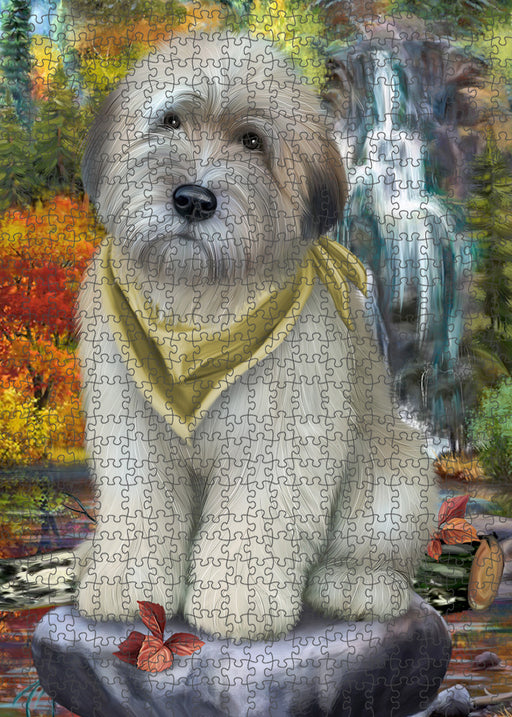Scenic Waterfall Soft-Coated Wheaten Terrier Dog Puzzle with Photo Tin PUZL54420