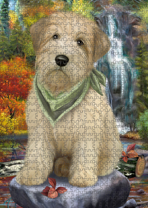 Scenic Waterfall Soft-Coated Wheaten Terrier Dog Puzzle with Photo Tin PUZL54423