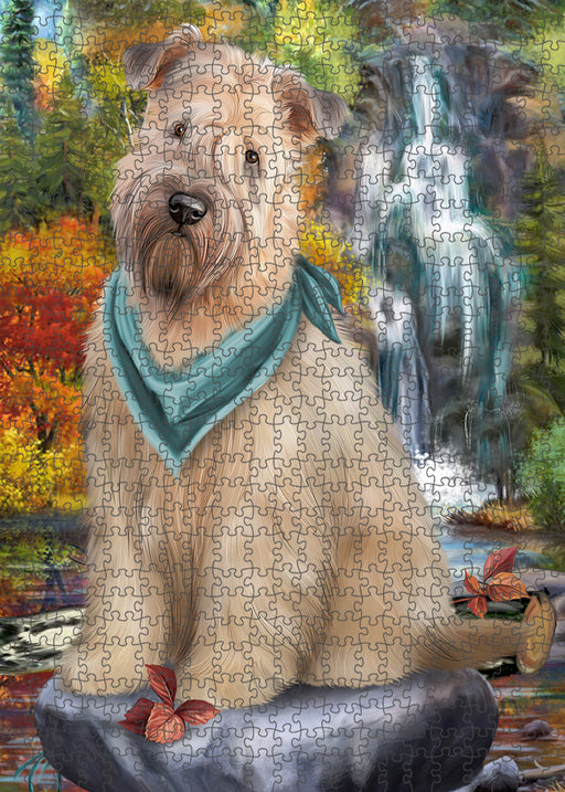 Scenic Waterfall Soft-Coated Wheaten Terrier Dog Puzzle with Photo Tin PUZL54426
