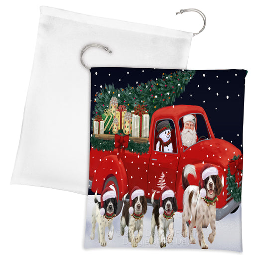 Christmas Express Delivery Red Truck Running Springer Spaniel Dogs Drawstring Laundry or Gift Bag LGB48932
