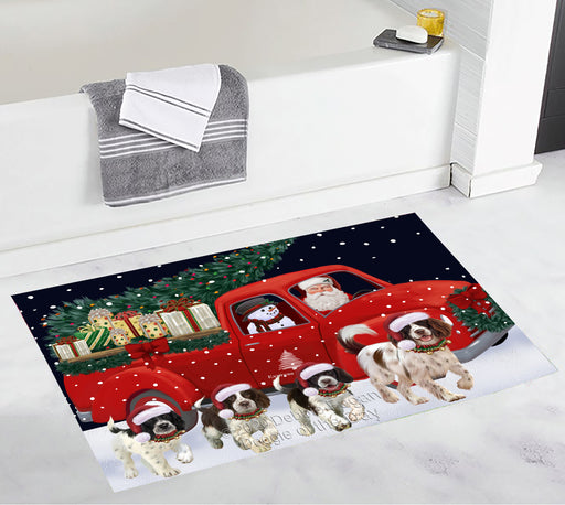 Christmas Express Delivery Red Truck Running Springer Spaniel Dogs Bath Mat BRUG53596