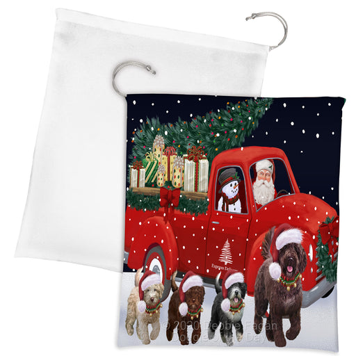 Christmas Express Delivery Red Truck Running Spanish Water Dogs Drawstring Laundry or Gift Bag LGB48933