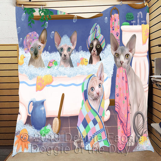 Rub A Dub Dogs In A Tub Sphynx Cats Quilt