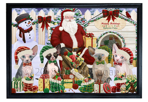 Christmas Dog House Sphynx Cats Framed Canvas Print Wall Art FCVS126370