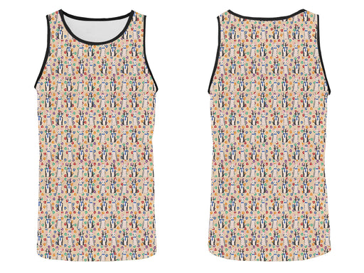 Rainbow Paw Print Sphynx Cats Blue All Over Print   Men's Tank Top