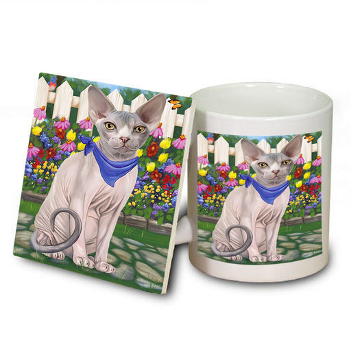 Spring Floral Sphynx Cat Mug and Coaster Set MUC52215