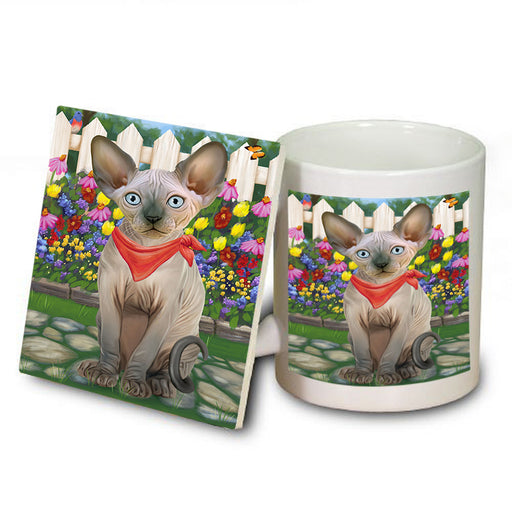 Spring Floral Sphynx Cat Mug and Coaster Set MUC52216