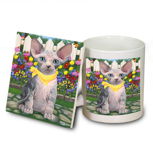 Spring Floral Sphynx Cat Mug and Coaster Set MUC52218