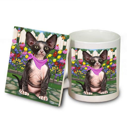 Spring Floral Sphynx Cat Mug and Coaster Set MUC52219