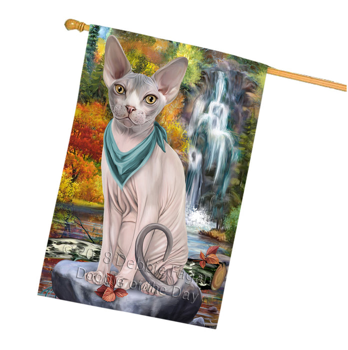 Scenic Waterfall Sphynx Cat House Flag FLG52100