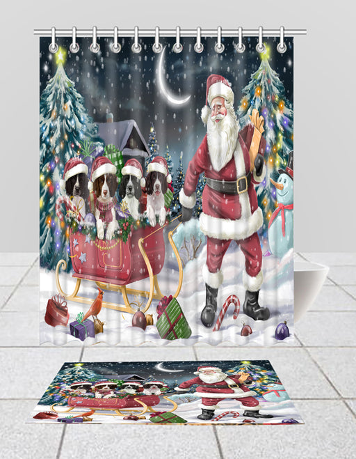 Santa Sled Dogs Christmas Happy Holidays Springer Spaniel Dogs Bath Mat and Shower Curtain Combo