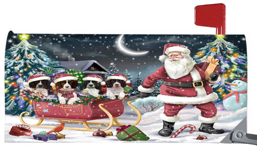Magnetic Mailbox Cover Santa Sled Christmas Happy Holidays Springer Spaniels Dog MBC48176